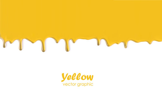 Dripping oil or honey, yellow liquid texture flowing down, isolated vector background.