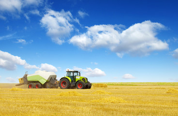 Wall Mural - tractor on field