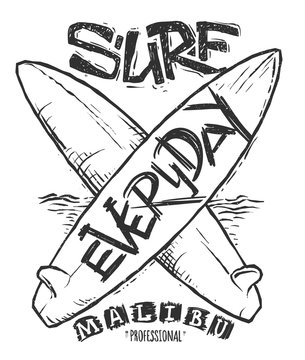 Surfing concept for shirt print, vector illustration
