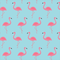 pink flamingo tropical exotic bird summer seamless pattern on a blue background vector