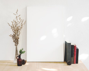 Blank white Photo Frame on Wooden for Design Mockup Template.