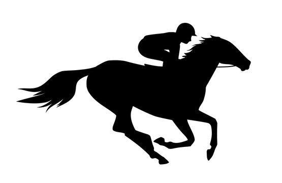 Vector illustration of  race horse with jockey. Black isolated silhouette on white background. Equestrian competition logo.