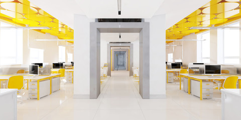 Perspective view of a color office interior with a row of white tables. 3d rendering.