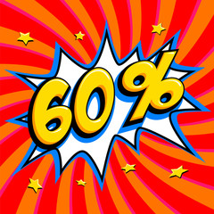 60% off. Sixty percent 60% off sale on red twisted background. Comics pop-art style bang shape. Seasonal sale banner. falling prices discounts.