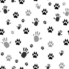 Handprint human and animal paw print seamless. Vector illustration. Isolated on white background