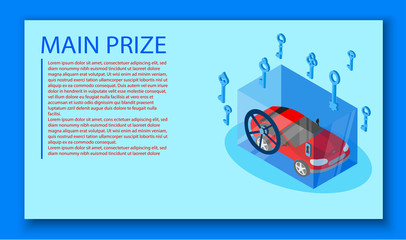 Main prize blue background with red car in safe.