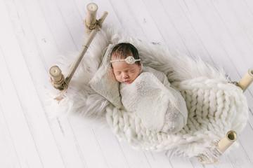 studio portrait of newborn baby girl, newborn photography