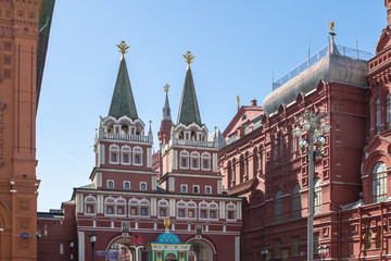 Resurrection gates on the Red Square in Moscow, Russia