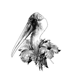 stork head sideways in profile with wreath on neck made of hibiscus and clerodendrum colors, sketch vector graphics monochrome illustration on white background