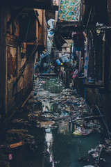 City street with trash floating in water