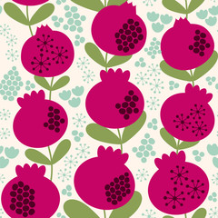 Seamless vector pattern with a beautiful decorative pomegranates.