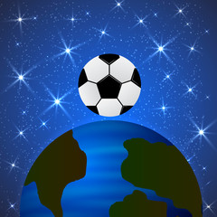 Planet Earth and a soccer ball in space. The concept of the World Cup. Football competitions vector illustration. The universe of sport.