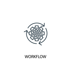 Workflow concept line icon. Simple element illustration