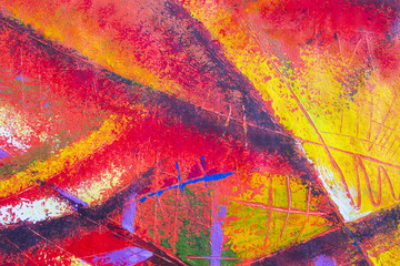 Abstract art original oil and acrylic color painting on canvas.