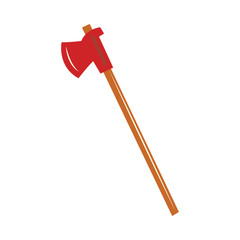 Firefighter axe icon. Red blade, wooden handle hatchet, cutting fireman equipment. Emergency worker rescuing equipment. Vector flat illustration isolated