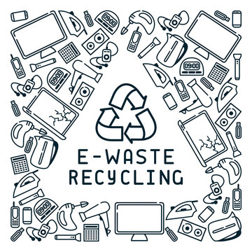E-waste recycling card with old appliances and lettering. Linear style vector illustration. There is a place for your text. EPS10