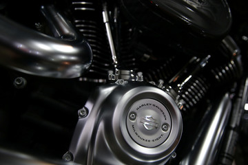 The Harley Davidson logo is seen on a motorcycle at a showroom in Bangkok