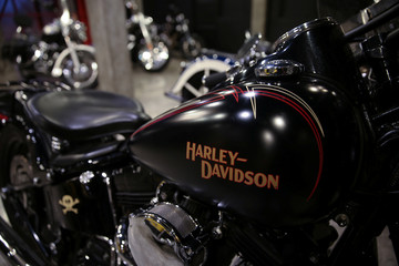 Harley Davidson motorcycles are displayed for sale at a showroom in Bangkok