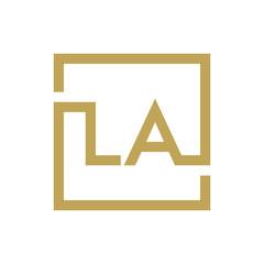two letter logo line square LA TO LZ