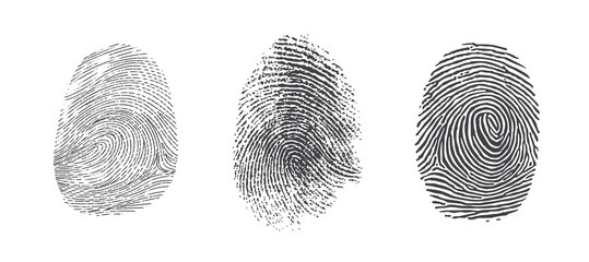 Finger print vector icons set illustration isolated on white background