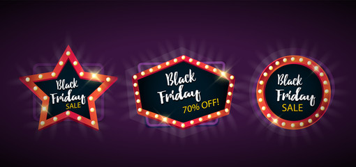 Black Friday sale black sticker vector isolated. Discount or special offer price sign on Black Friday. Sale banner. Promo offer on black friday