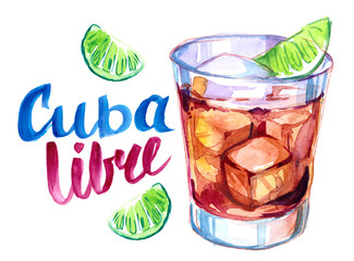 Alcohol cocktail. Watercolor
