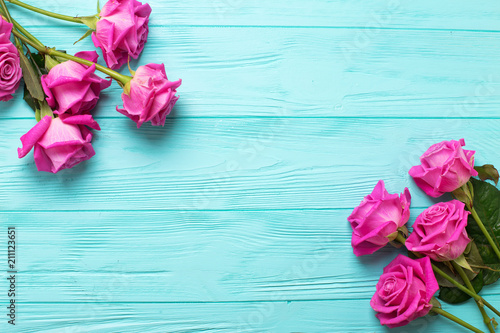 Border from pink roses flowers on teal color wooden background border from pink roses flowers on teal color wooden background floral mock up view mightylinksfo
