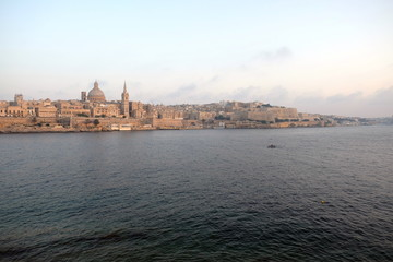 Skyline of La Valletta, capital city of Malta, evening light, view from Sliema.