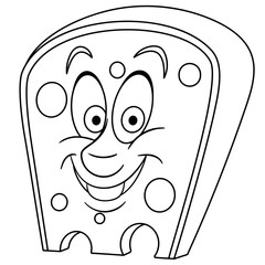 Coloring page. Coloring book. Swiss Cheese with holes. Happy Food concept. Cartoon design for t-shirt print, icon, logo, label, patch, sticker.