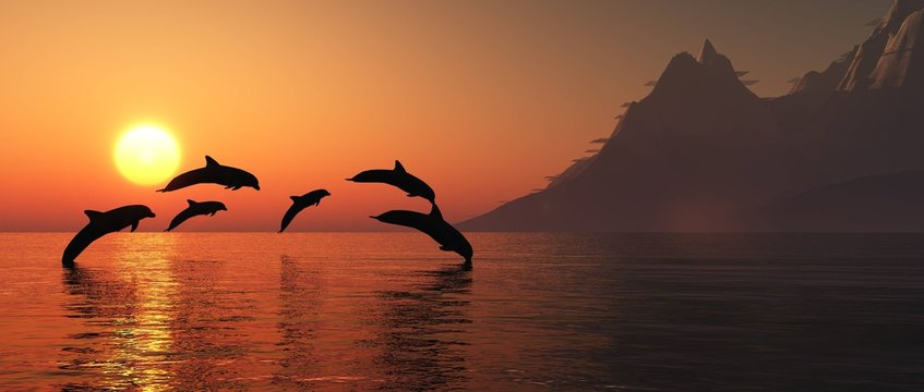 Dolphins are jumping at sunset. Sea landscape at sunset. 3D rendering