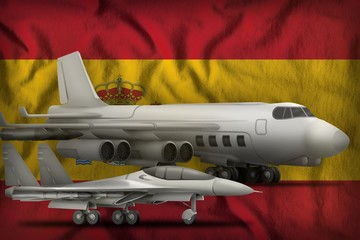 Spain air forces concept on the state flag background. 3d Illustration