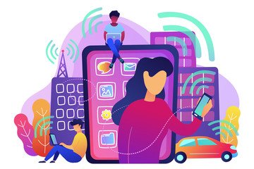 People using different electronic devices such as smartphone, laptop, tablet. Radio fields, electromagnetic pollution, radiation concept, violet palette. Vector illustration on white background.
