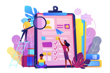 HR managers looking at curriculum vitae of job seeker as a concept of job interview, working experience, recruitment, job application. Violet palette. Vector illustration on white background.