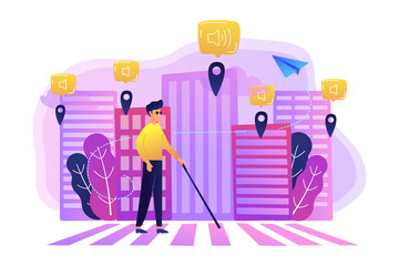 A blind man crossing the street with smart tags and voice notifications around. Barrier-free convenient environment as IoT and smart city concept, violet palette. Vector illustration on background.