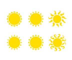 Set of vector sun isolated on white background