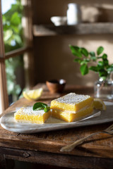 Lemon Bars in a Rustic Farmhouse