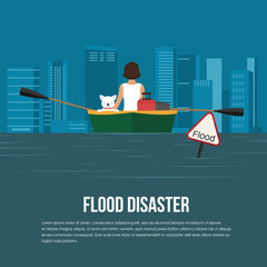 Flood disaster with flood warning banner,woman and dog on boat in flood water vector design