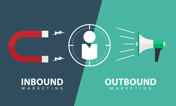 Inbound marketing and outbound marketing banner with focus customer sign between the Magnetic and Megaphone vector design