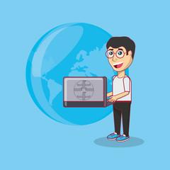cartoon man holding a laptop computer over blue background, colorful design. vector illustration