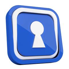ikona plastikowa 3D niebieski kwadrat pierścień - fototapety na wymiar