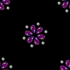 Flowers from precious stones. Seamless Pattern. Jewelry. Black background