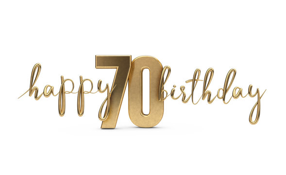 Happy 70th birthday gold greeting background. 3D Rendering