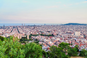 Barcelona, Spain. Panoramic view of the city towards the sea from the hill.