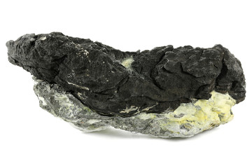native arsenic on barite from Oberschlema/ Ore Mountains, Germany isolated on white background