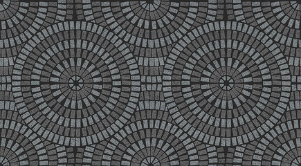 Ornamental pattern in patio paving texture