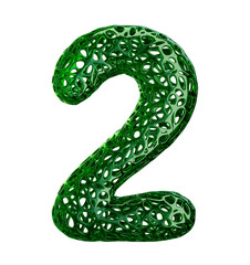 Number 2 two made of green plastic with abstract holes isolated on white background. 3d