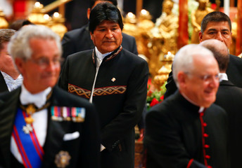 President of Bolivia Evo Morales arrives before a consistory ceremony to install 14 new cardinals in Saint Peter's Basilica at the Vatican