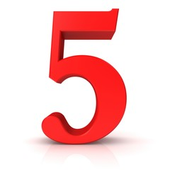 5 number five fifth red 3d sign isolated