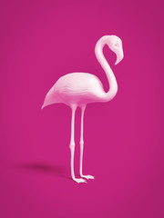 Foto op Aluminium Flamingo white flamingo on pink background