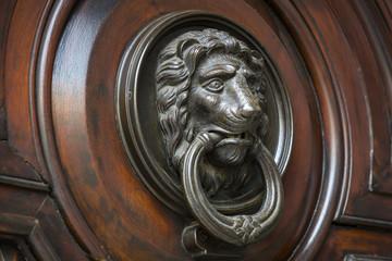 Door knocker close-up on a wooden wall